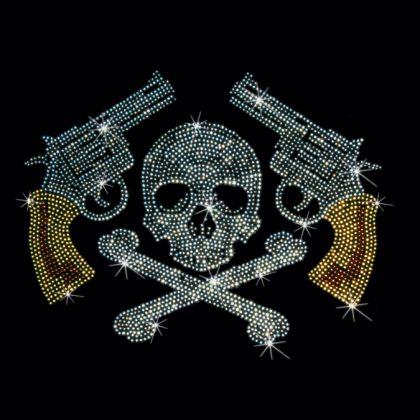 9x7 - TABANCALARI, KAFATASI & çapraz kemikler - crossbones, silahlar, Rhinestone, kafatası, taşlar, Materyal Transfer, Kafatasları
