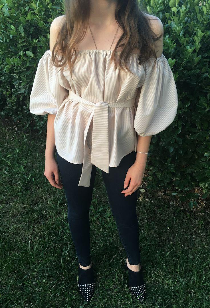 Eva karpuz kol bluz #shirt #gömlek #bluz #belt #balloonsleeve #viscon #viskon #karpuzkol #cool #confortable #rahat #ecru