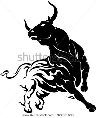 Raging Bull with Flame Trail - stock vector