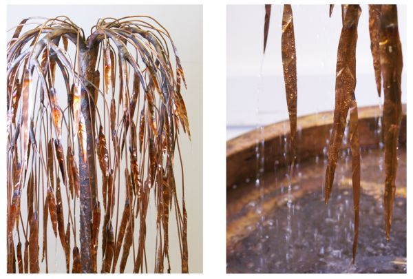 Weeping Willow Copper Tree Water Feature Created by an award winning artist, this piece (along with many others) has featured in the show gardens at the Hampton Court Flower Show and Chelsea Flower Show together with numerous private commissions.   The Weeping Willow is a beau