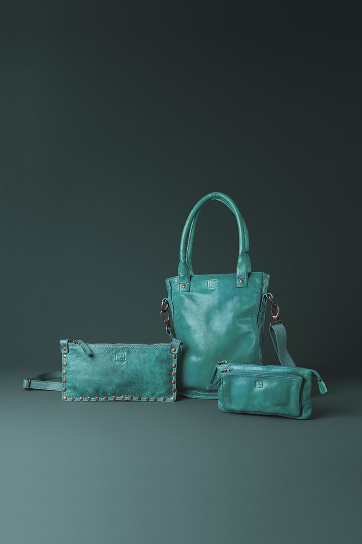 Timeless Collection | Leather handbag, pochette and wallet | Malachite green