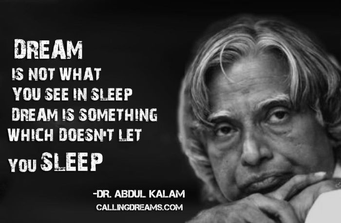 Dream is not what you see in sleep, Dream is something which doesn't let you sleep. - APJ Abdul Kalam