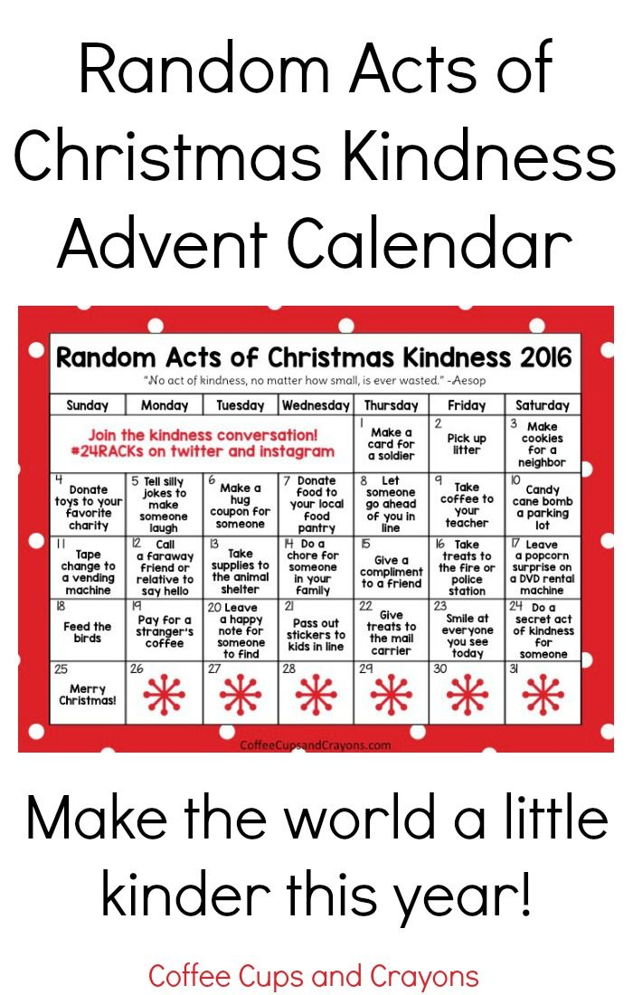 Bring some holiday cheer and teach the children about giving with this Random Acts of Christmas Kindness Advent Calendar!