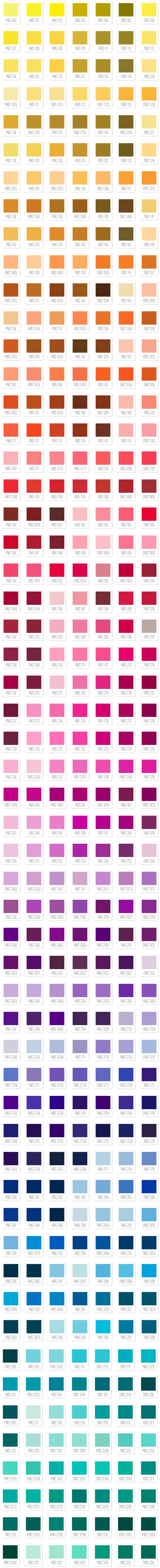 pantone ink matches for letterpress printing.