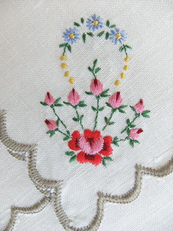 6 gorgeous napkins / serviettes with lovely hand-embroidered posies of flowers in yellow, red, lilac and blue on beige linen/ cotton fabric. The