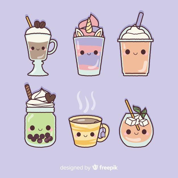 kawaii colorear drawings freepik premium comida dibujos flat gratis imagenes fast flache vektoren helado objetos dibujo piatti platte psd comidas