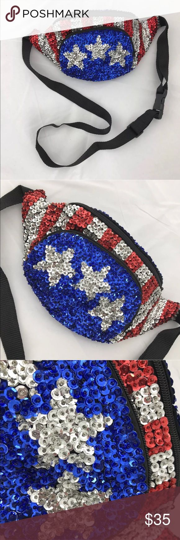 "VTG Sequin Fanny Pack Bag American Kendall Jenner Vintage 80s 90s Sequin American Flag Fanny pack waist Bag  SIZE: ONE SIZE  MEASUREMENTS: Width 11"" Length: 6"" Strap is adjustable   CONDITION: Excellent Vintage Condition  EXACTLY AS PHOTOGRAPHED  DESCRIPTION: Sequin American Flag Fanny pack waist Bag. Definitely Stunner little piece here. Fully sequenced out stripes and stars in red/white/blue flag design. The strap and the backside are black. Vintage Bags Mini Bags"