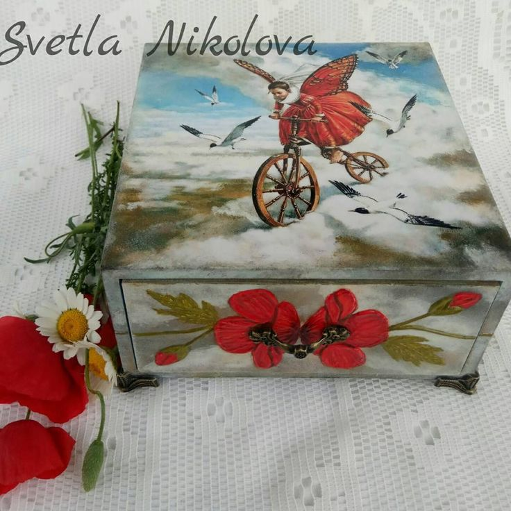 "50 Likes, 1 Comments - Svetla Nikolova (@svetla.nikolova.handmade) on Instagram: ""My new box ,,Spirit""#decoration #decor #decoupage  #painting #poppy #art #handmade #handmadedecor…"""