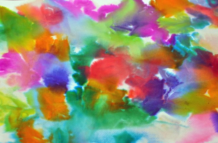 Tissue Paper Art-lay tissue paper pieces on white paper spray with water-let the colors bleed onto paper-lift off tissue paper