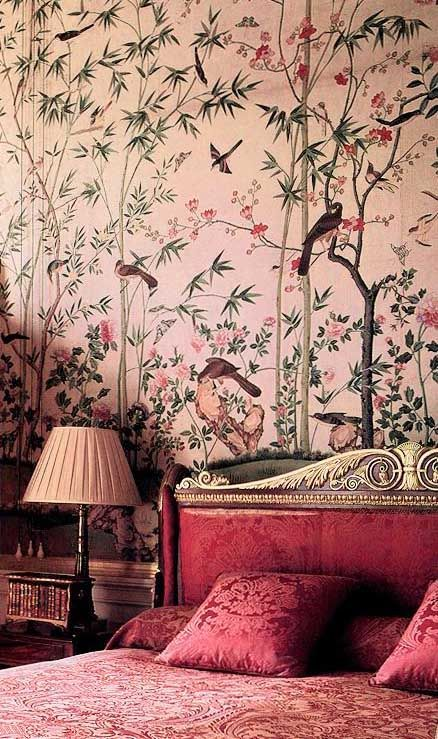 Chinese wallpaper at Chatsworth, hung in about 1830 for the 6th 'batchelor' Duke…