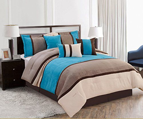 7 Pieces Luxury Micro Suede Turquoise Blue / Grey Comforter Set / Bed-in-a-bag Queen Size Bedding Grand Linen