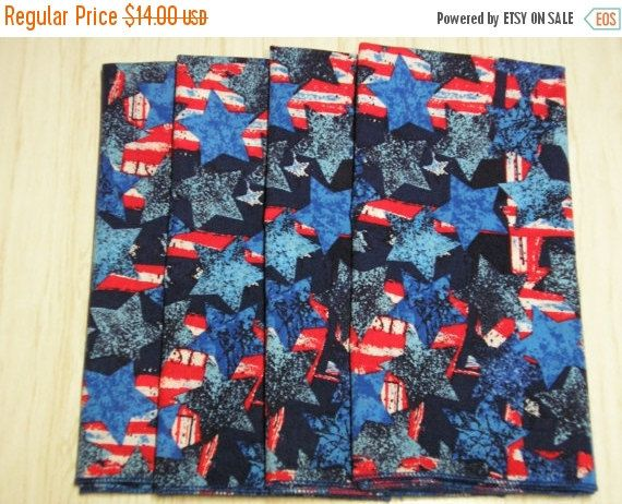 SPRING SALE 4th of July Cloth Napkins Textured Stars by MakeMeOver