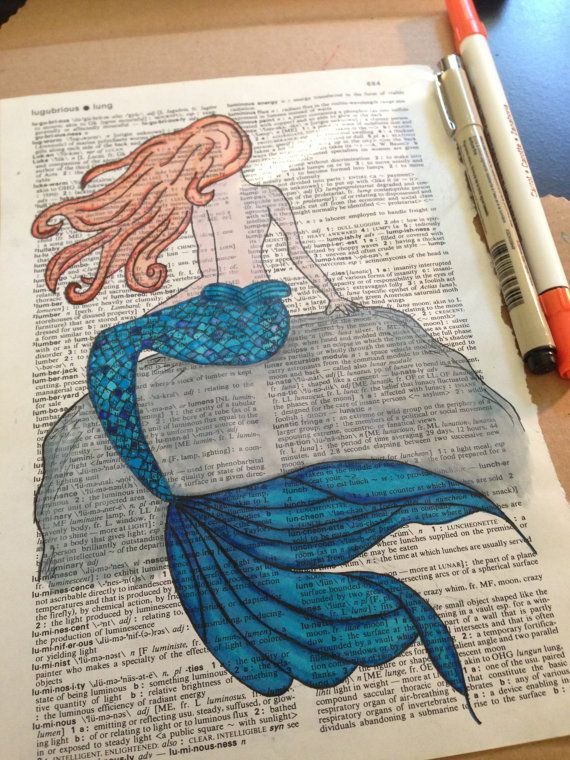 Mermaid Watercolor Painting Dark Blue Fin With Red Hair