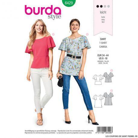 Patron Burda n°6429: T-shirt manches cloche de la nouvelle collection de patron de couture Burda Patron Burda n°6534 : Pantalon - Jeans :Printemps - Eté 2018. Venez découvrir les autres modèles, disponible sur notre site. Patron adulte et enfant