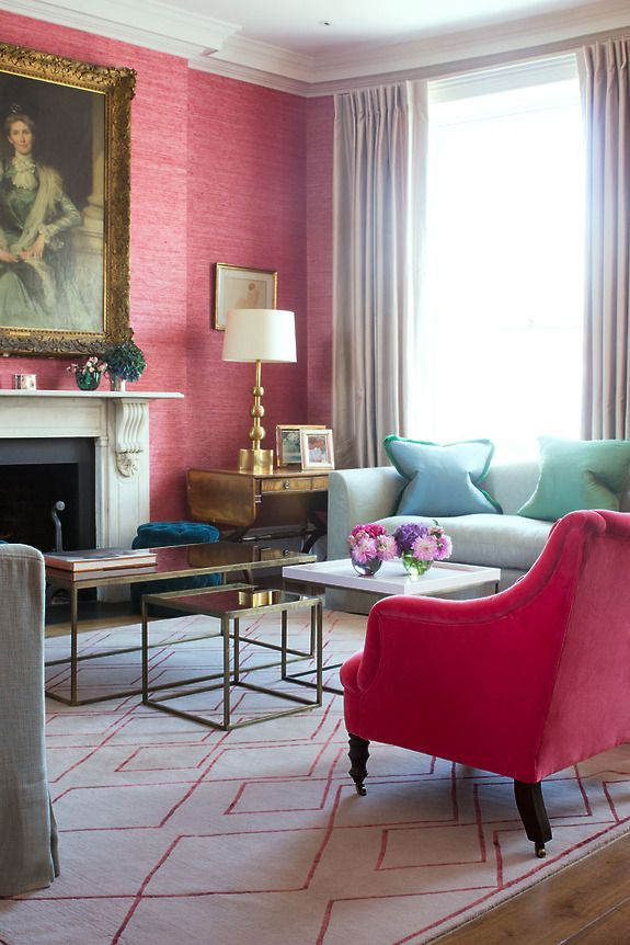 Interior designer Samantha Todhunter features Extra Fine Arrowroot 1964 Coral Red to create excitement in a client's living room.