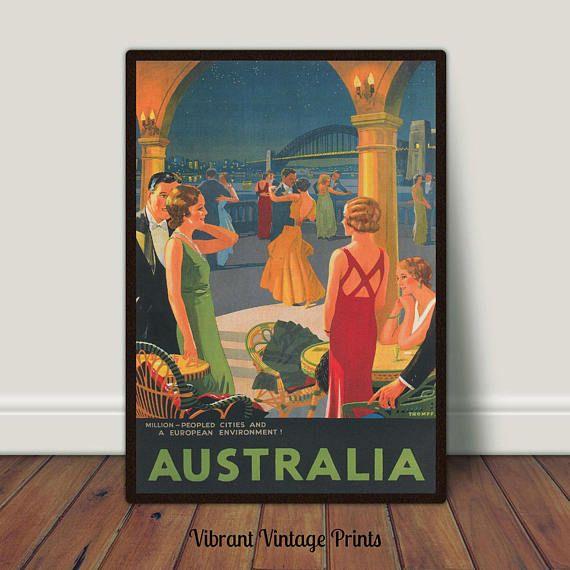 Australia Dance Romance Vintage Travel Poster Printable
