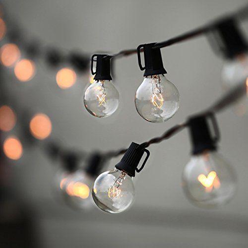Patio String Lights Garden Vintage Backyard 25 Clear Globe Bulbs Umbrella 25 Ft #PatioStringLights