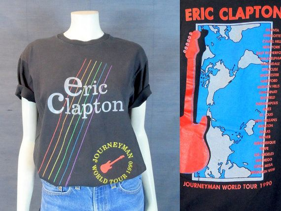 1990 ERIC CLAPTON Concert T-shirt, Journeyman Tee shirt Rock Merchandise World Tour 90s Classic Rock n Roll Music Blues Cream Yardbirds