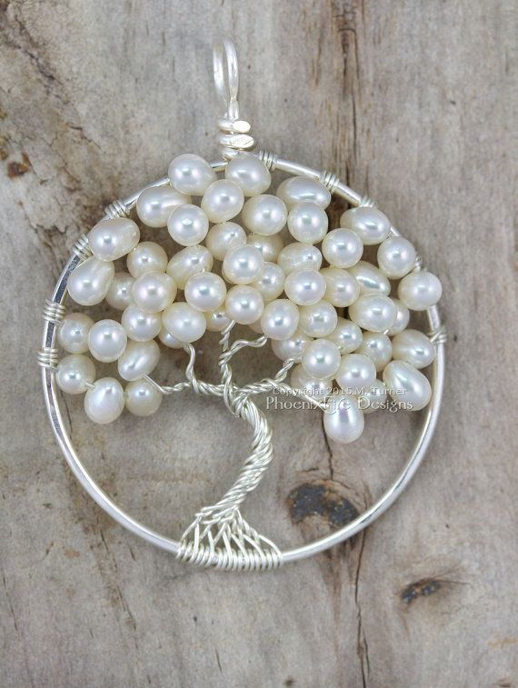 Wedding Tree of Life Pendant Freshwater Pearl Wedding Jewelry Bridesmaid Gift Idea Wire Wrapped Tree Ivory Bridal Woodland Weddings RTS