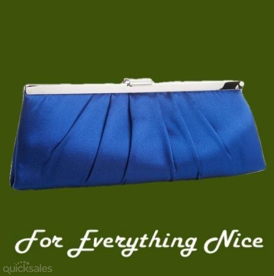 Royal Blue Sleek Gathered Pleats Satin Evening Bag Bridal Purse by JRMB7339 - $60.00
