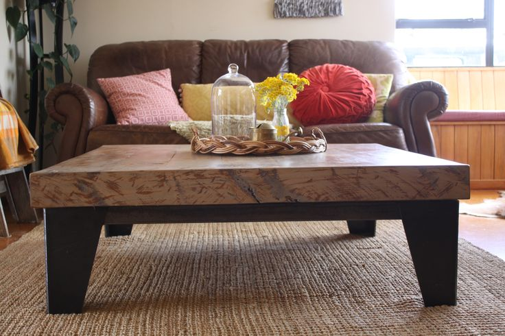 Macrocarpa sleeper table and Steel base designed and built by Ryan McQuerry