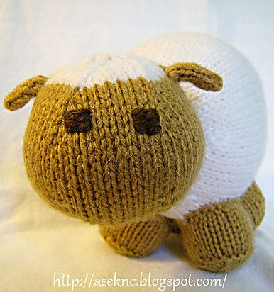 free knitting pattern for little lamb toy small sheep softie about 6 inches tall