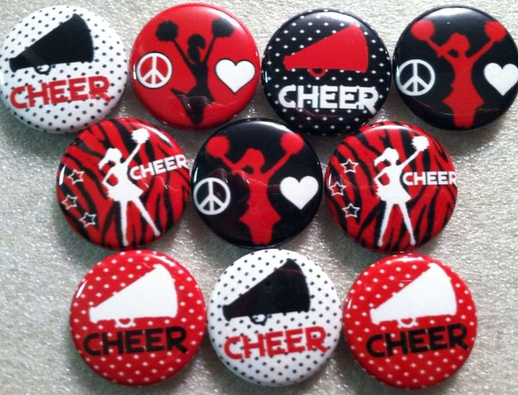 """Cheer 1"""" Flatback Buttons, Crafts Hairbows Tumble"""