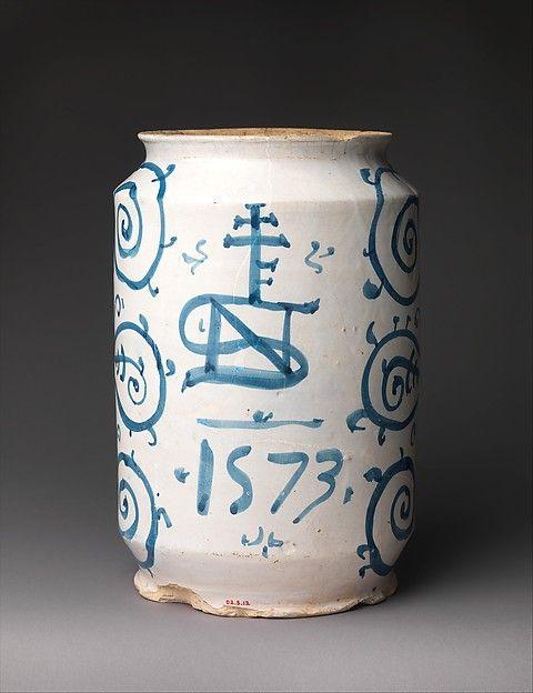"Probably workshop of Giacomo Mancini, ""El Frate""   Pharmacy jar (albarello)   Italian, Deruta   The Met"