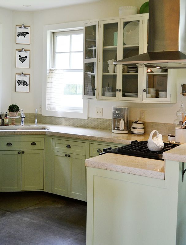 Farmhouse Kitchen Mint Green Base Cabinets Painted In