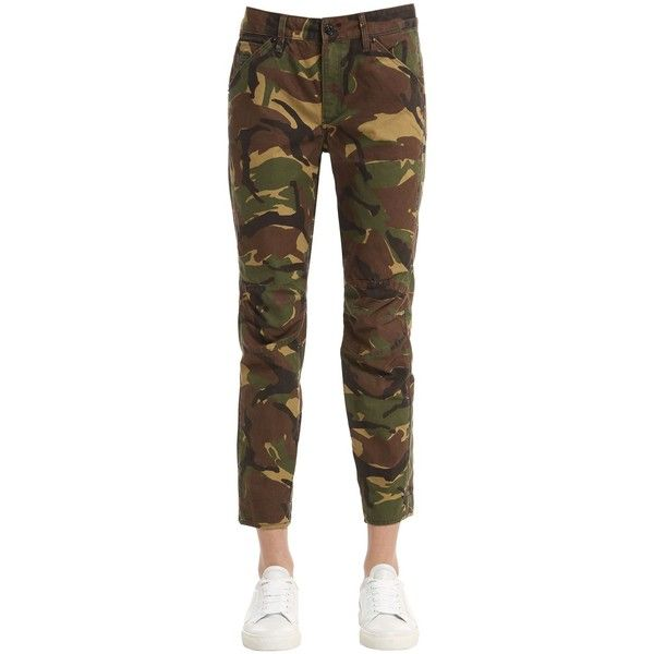 G-star By Pharrell Williams Women Camouflage Printed Cotton Denim... ($160) ❤ liked on Polyvore featuring jeans, camoflage jeans, camo print jeans, camouflage jeans, camo jeans and g-star raw