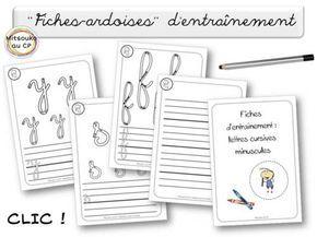 """""""Fiches-ardoises"""" pour s'entraîner à écrire les minuscules cursives FICHES ARDOISE (plastifiées) pour s'entrainer avec des feutres à tableau blanc http://mitsouko.eklablog.com/fiches-ardoises-pour-s-entrainer-a-ecrire-les-minuscules-cursives-a109208110"""