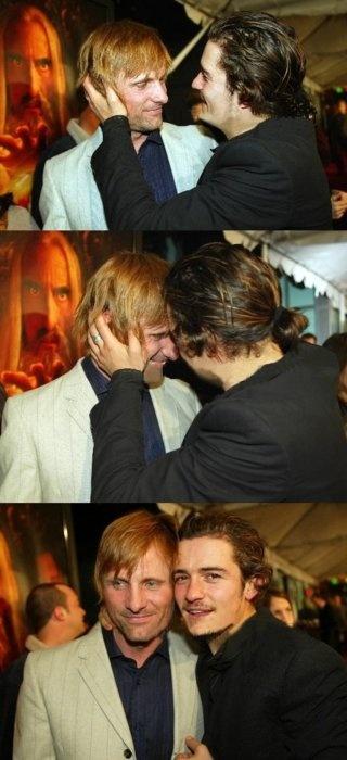 The headbutt.......Viggo and Orlando :-)