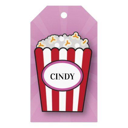 Birthday Party Movie Popcorn Film Thank You Tags - birthday gifts party celebration custom gift ideas diy