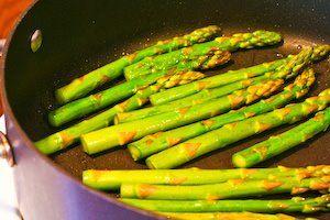 Pan-Fried Asparagus Tips with Lemon Juice and Lemon Zest