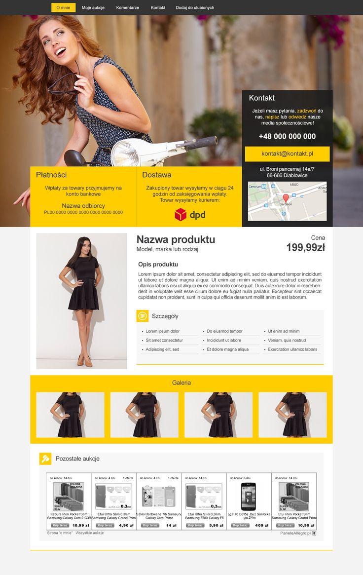 Elegancki, przejrzysty i prosty w obsłudze szablon przeznaczony do sprzedaży damskiej odzieży. #szablonallegro #sukienki #odzież #kobiety #allegro #allegrodesign