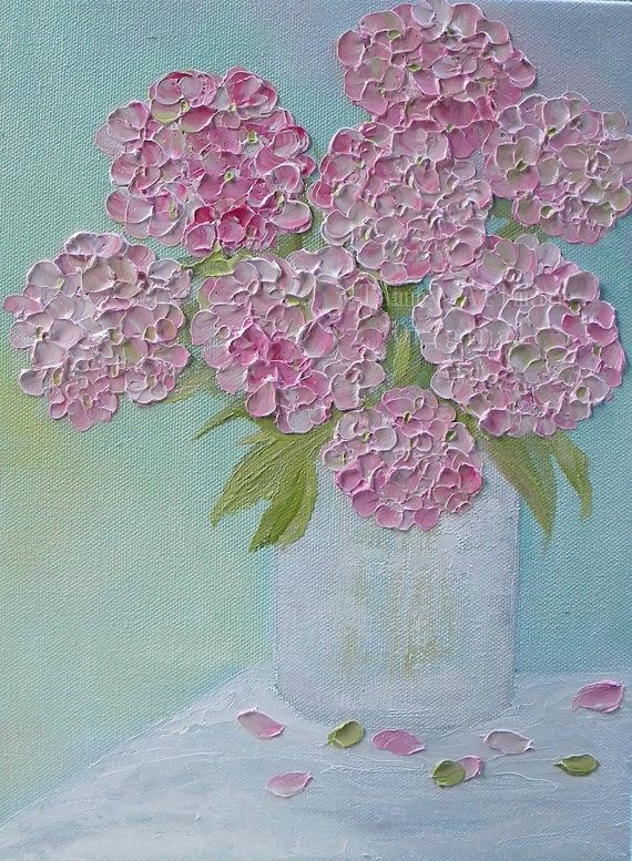 Pink Hydrangeas by Kenzies Cottage = I like the dimensional feeling of this painting