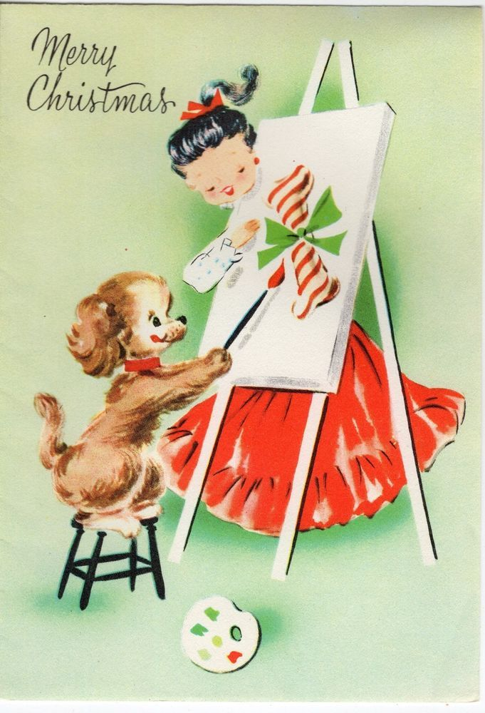 Unused Pretty Girl Lady Woman Puppy Dog Paint Class VTG Christmas Greeting Card