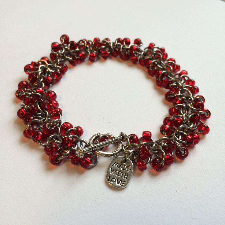 Red beaded chainmaille bracelet by TrinketFairyDesigns on Etsy