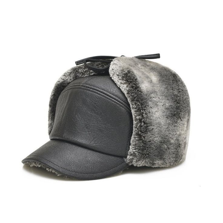 Men Winter PU Leather Fur Hat With Earflaps
