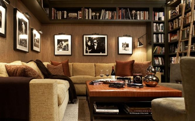 Chocolate brown colored livingroom with matching coffee table