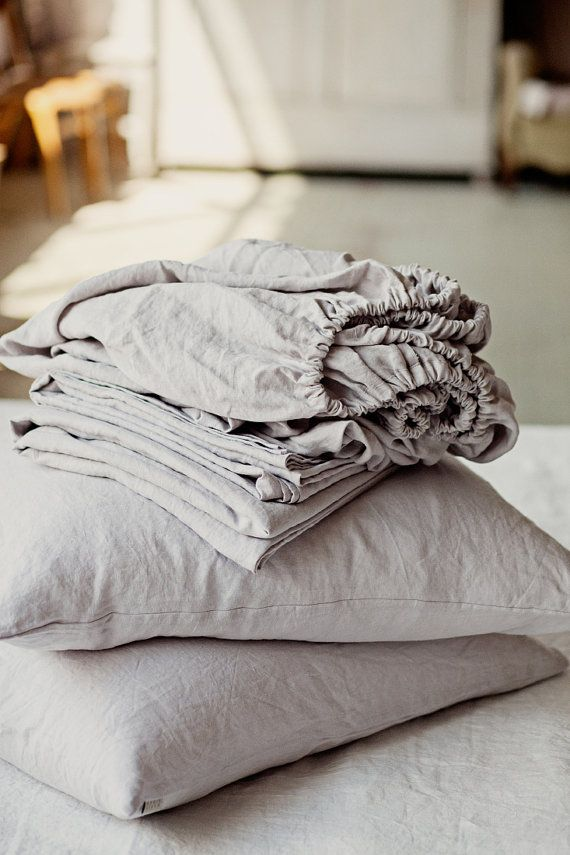 Comfort, pure and simple. This light grey scandinavian style linen sheet set is the foundation for building the perfect bedding ensemble. It consist of 4 items - 1 fitted sheet, 1 flat sheet and 2 pillow cases. Composition: 100% linen, softened with special softening technique (stone