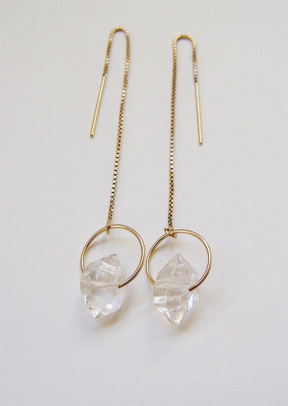 SALE Herkimer Diamond Gold Chain Earrings by friedasophie on Etsy