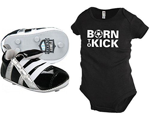First-Cleat-Newborn-Baby-Soccer-Shoes-with-free-Born-To-Kick-onesie-black-shoes-with-black-onesie-0