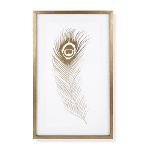 Peacock Feather Gold Effect Framed Print