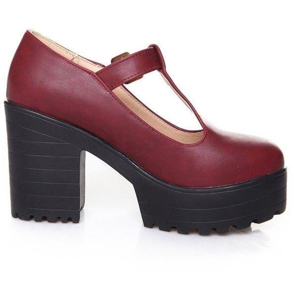 fc19beba47f03 Mary janes · Milesline Fashion Women s Round Toe Platform Shoes T-strap  Chunky Heel... (