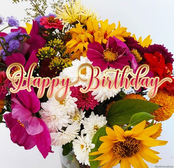 Happy Birthday Flowers Happy Birthday Graphics Happy Birthday