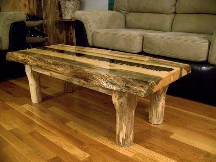 Beetle Kill Pine Slab Coffee Table With Saw Blade Inlay