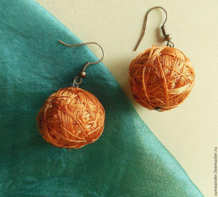 Купить Серьги текстильные Рыжее солнышко - рыжий, серьги текстильные, серьги летние, солнечный зайчик