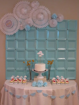 milk tea + polkadots: A Mile-High Adventure Theme Bridal Shower Ice Blue Square Plates + Paper Medallion Clouds #paperplatebackdrop