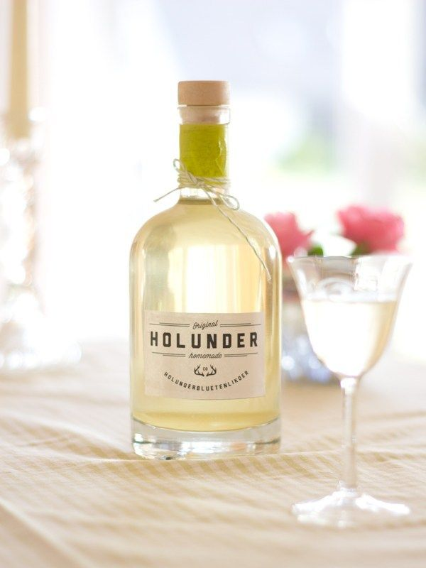 Holunderlikör – Rezept mit Etiketten zum Download